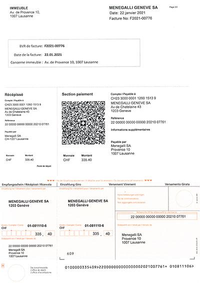 Facture Menegalli SA BVR et QRcode