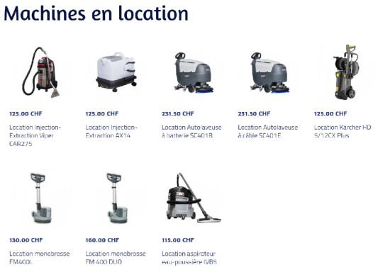 Location de machines de nettoyage